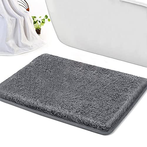 Alfombra de baño, 40X60cm pulgadas, antideslizante, extra suave y absorbente, lavable a máquina, alfombras de felpa perfectas para bañera, ducha y cuarto de baño, gris