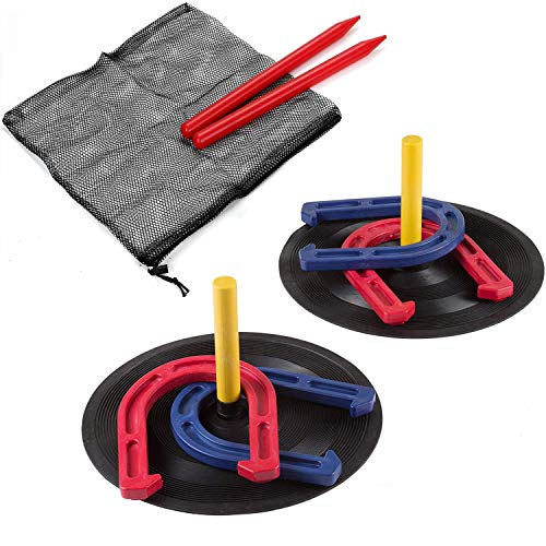 Rubber Horseshoes Game Set for Outdoor Indoor Games-Includes 4 Horseshoes,2 Pegs,2 Rubber Mats,2 Plastic dowels.1 Mesh bagBeach Games Perfect for Backyard and Fun for Kids and Adults!(Red&Blue)