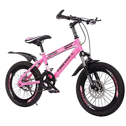 HUAQINEI Bicicleta Bicicleta para niños al Aire Libre Adecuada para niños y niñas de 7 a 14 años Bicicleta de montaña para niños, Rosa, 20 Pulgadas