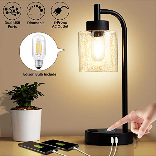ZEEFO Industrial Touch Lamps, Dimmable Table Lamp Built-in Dual USB Ports and 3- Prong AC Outlet Modern Vintage Nightstand Desk Lamps with Edison 7W LED Bulbs Suitable for Bedroom, Living Room