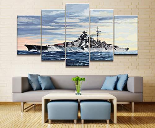 Bilder 5 Teilig Leinwandbilder 5 Panel Deutsch Schlachtschiff Bismarck Kriegswaffe Poster Gedruckt Malerei Für Wohnzimmer Wandkunst Dekor Bild Kunstwerke Poster Rahmenlos Xjzjiayou