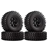 INJORA 1.9 Inch Tyre Set 4Pcs Beadlock Wheel Rim and Rubber Tires for 1/10 RC Crawler Axial SCX10 90046 (Black)