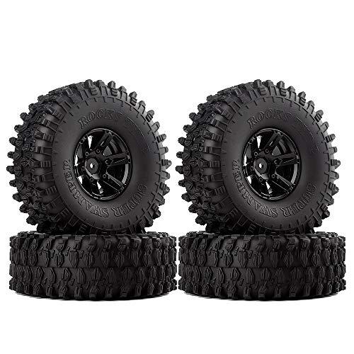 INJORA 1,9 RC Crawler Reifen Set mit Beadlock Felgen 4Pcs Tires mit Räder für 1/10 RC Crawler Axial SCX10 90046 (Schwarz)