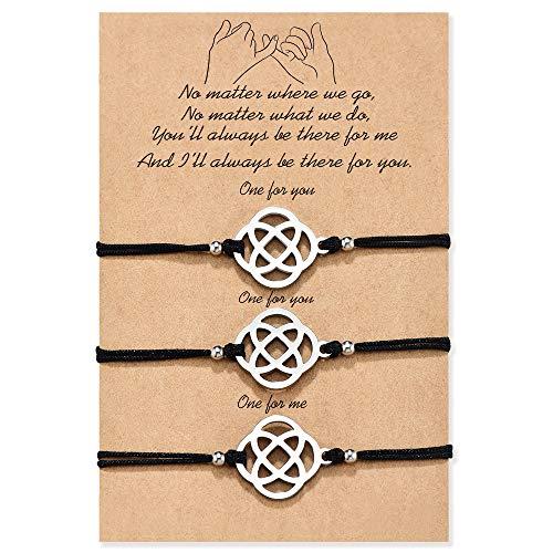 MANVEN Mom Daughter BFF Bracelets for 3 Pinky Promise Distance Matching String Bracelet for Best Friends Sisters Women Men Teens Boy Girls