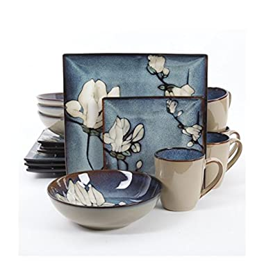 Gibson Elite 101982.16RM Bloomsbury 16 Piece Reactive Glaze Dinnerware Set, Blue
