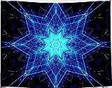 Amiiba Wandteppich mit Mandala-Blume, indischer Bohemian-Stil, Wandbehang, Psychedelisch, Hippie, Heimdekoration für Schlafzimmer, Wohnzimmer (Bohemian, M – 149,9 x 129,5 cm)