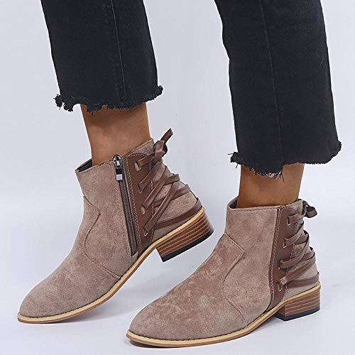 xiangqian-dongjinvxie Sneeuwlaarzen Winter warme bont gevoerde Martin laarzen Casual sneakers Wandelen combat laarzen leren schoenen SizesBooties, strappy enkellaarzen, luipaard print, groot formaat