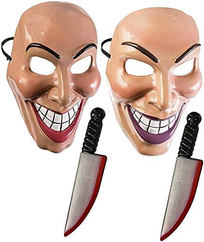 Dreamzfit - Máscara de Halloween para adultos con 2 juguetes sangrientos para fiestas de Halloween, cosplay, purga asesino máscara de miedo para hombres y mujeres
