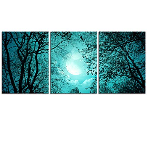 Visual Art Decor - Lienzo Decorativo para Pared, 3 Piezas, Listo para Colgar, Color Verde Azulado, 04 Moon, 12'x16'x3