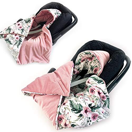 BABEES© Manta acolchada de invierno con relleno para portabebés y asiento de coche, universal, por ejemplo, Maxi-Cosi Römer Cybex, con cierre de velcro para cochecito, portabebés y cuna