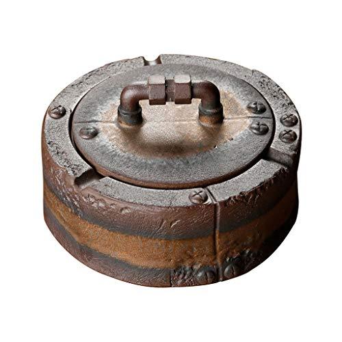 dxjsf Cenicero de cerámica con Tapa Inicio Mesa de Centro Oficina Decoración de Escritorio Retro Nostálgico Cenicero Fumar Regalo Multifunción