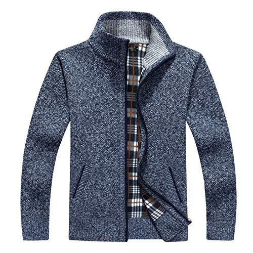 Beastle Herren Sweater Cardigan Herbst- und Wintermode Verdickter Stehkragen Reißverschluss Strickpullover Jacke Casual Plaid Printed Sweater Cardigan XL
