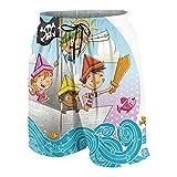 KOiomho Hombres Personalizado Trajes de Baño,Grupo de niños Piratas de Dibujos Animados navegando en Barco de Papel,Casual Ropa de Playa Pantalones Cortos