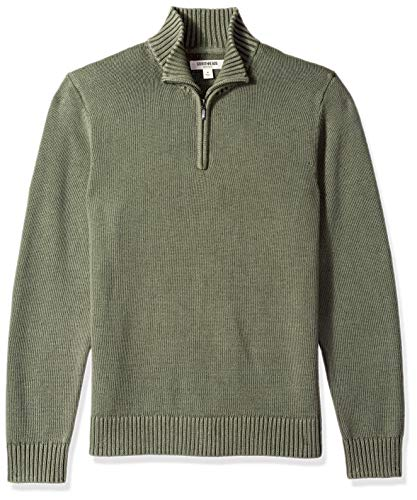 Amazon Brand - Goodthreads Men's Soft Cotton Quarter Zip Sweater, Washed Olive, X-Large