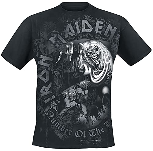 Iron Maiden Number of The Beast Grey Tone Männer T-Shirt schwarz XXL 100% Baumwolle Band-Merch, Bands