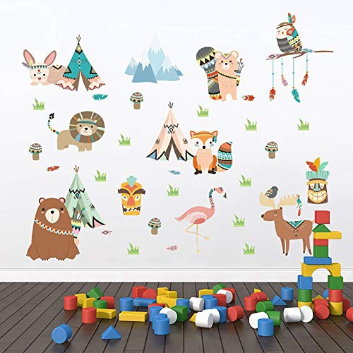 Funny Animals Indian Tribe Wall Stickers For Kids Rooms Home Decor Cartoon Owl Lion Bear Fox Wall Mural Art