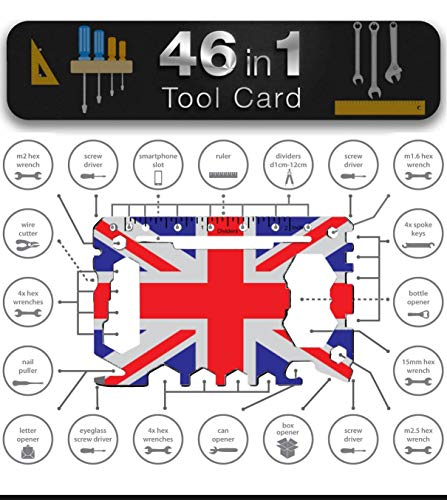 Multi Tool Card Size Gadget Wallet Set - 46 in 1 Pocket kit | Outdoor Camping Multitool Accessories | Stainless Steel | Perfect Gift for Men British Presents | UK Union Flag - Union Jack Flag Coloured