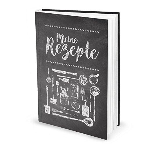 XXL receptenboek om zelf te schrijven, TAFEL-KRIJDE-LOOK, zwart-wit, DIN A4, notitieboek, eigen kookboek, keuken, 164 pagina's, mijn recepten, cadeau koken, voeding