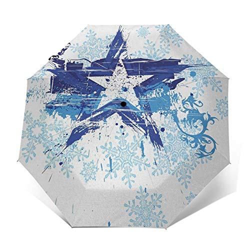 Paraguas Plegable Automático Impermeable Estrella Copos de nieve Floral Frozen, Paraguas De...