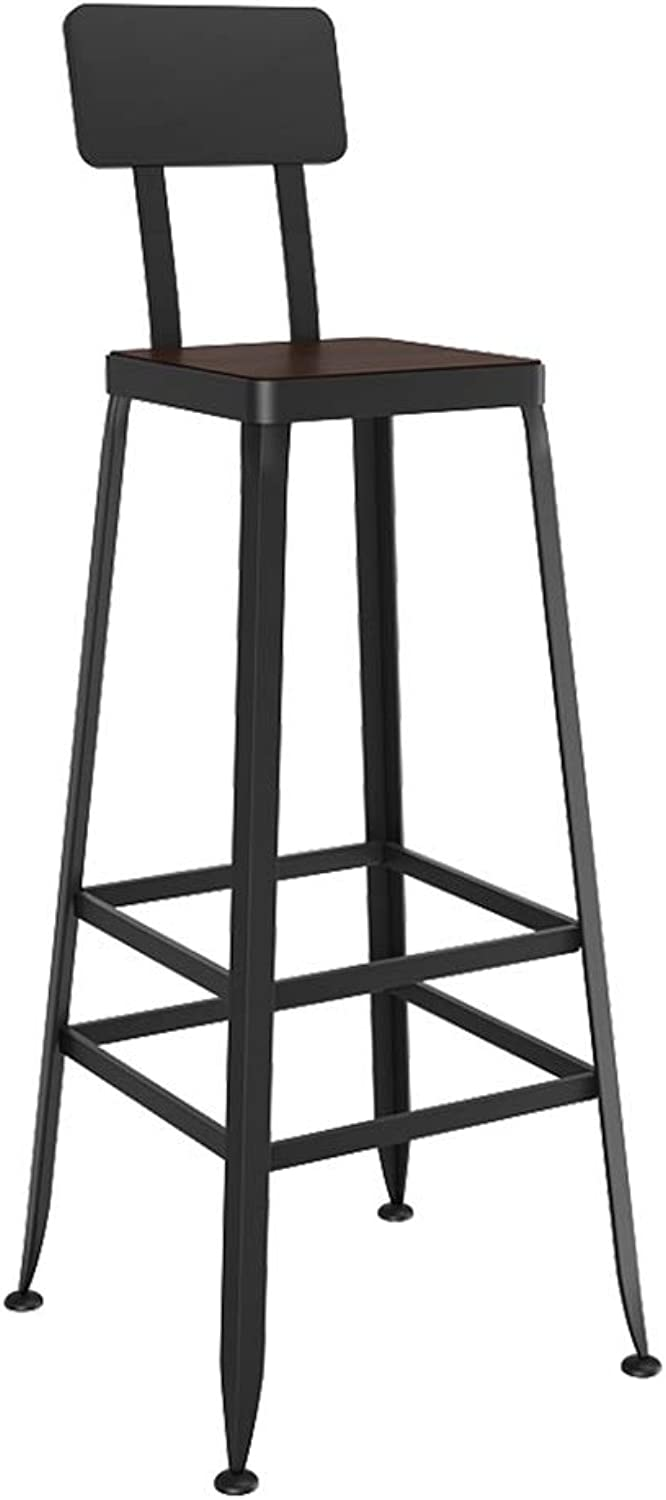 Barstool Iron Breakfast Dining Stool for Kitchen Bar Counter Home Commercial Chair High Stool with Backrest and Wooden Seat LOFT Industrial Style (Size   Height 80cm)