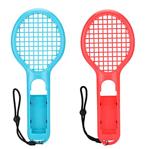 icyant Raqueta de tenis para Nintendo Switch Joy-Con Controller, accesorios de juego para Nintendo Switch Somatosensory Games Kit de mango universal para Mario Tennis Aces Game, 2 unidades,rojo y azul