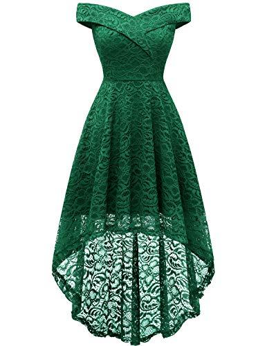 HomRain Damen Kleider Elegant Spitzenkleid Cocktailkleid Knielang Rockabilly Kleid Abendkleider Green S