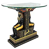Design Toscano TUT The Egyptian Pharaoh Glass-Topped Sculptural Table, Full Color