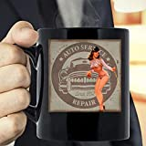 Classic Retro Style Pinup Girl Hot Rod Coffee Mug - The Funny Coffee Mugs For Halloween, Holiday, Ch...