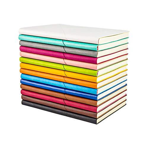 EMITEC Lederkomposition Tagebuch Notizbuch – Klassisches A5 breit liniert Schreibthema Notizblock buntes Hardcover Reisetagebuch Journals Notizbuch für Studenten 100 Blatt/zufällige Farbe Set von 3