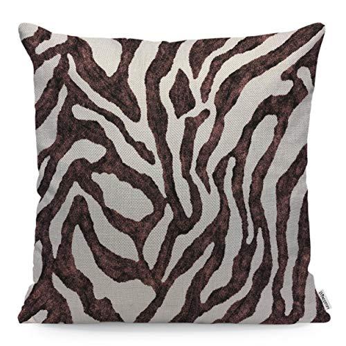 WONDERTIFY Pillow Cover Zebra Skin Pattern Nature Animal Print Brown White - Soft Linen Pillow Case for Decorative Bedroom/Livingroom/Sofa/Farm House - Cushion Covers 18x18 Inch 45x45 cm