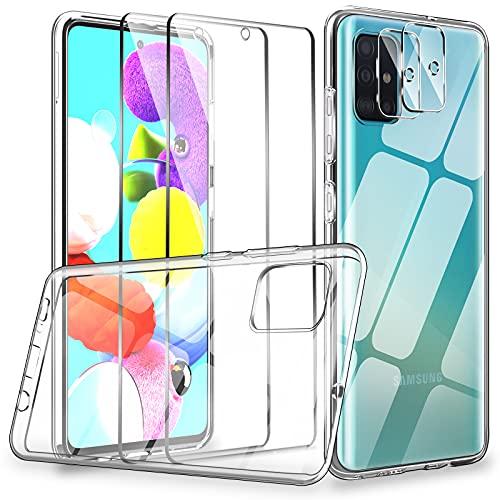 LK Kompatibel mit Galaxy A51 Hülle, 2 Bildschirmschutz Schutzfolie und 2 Kamera Schutzfolie, 9H HD Klar Bildschirmschutz Blasenfrei, Weiche TPU Silikon Hülle Cover - Transparent