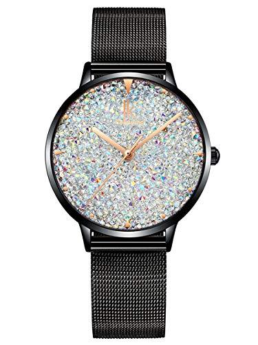 Alienwork Reloj Mujer Relojes Negro Banda de Malla Metálica Blanco Strass Purpurina Elegante
