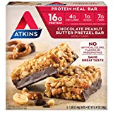 Atkins Chocolate Peanut Butter Pretzel Protein Meal Bar. Sweet and Salty. Keto-Friendly. (5 Bars)