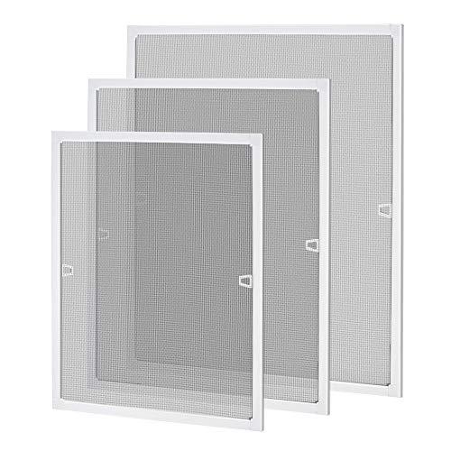 UISEBRT Insektenschutz Fliegengitter Fenster mit Alurahmen -Fliegenschutzgitter Mückengitter ohne Bohren und Schrauben, 80×100cm, Weiß