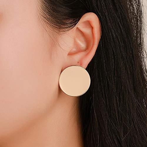 AdronQ Pendientes De Botón De Corazón De Esmalte Grande para Mujer Black Oil Gold Street Trendy Jewelry Statement Love Stud Ear