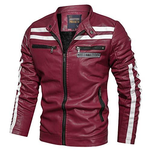 ECGZS para Hombre de Cuero de la PU de la Motocicleta del Motorista de la Chaqueta a Prueba de Viento al Aire Libre Outwear Racer Moto Abrigos con Zip Multi Jinete Estilo,Red-3XL
