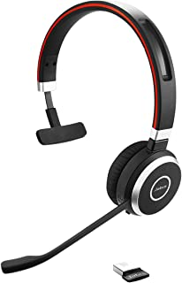 Jabra Evolve 65 UC Wireless Headset, Mono – Includes Link 370 USB Adapter – Bluetooth Headset with Industry-Leading Wirele...