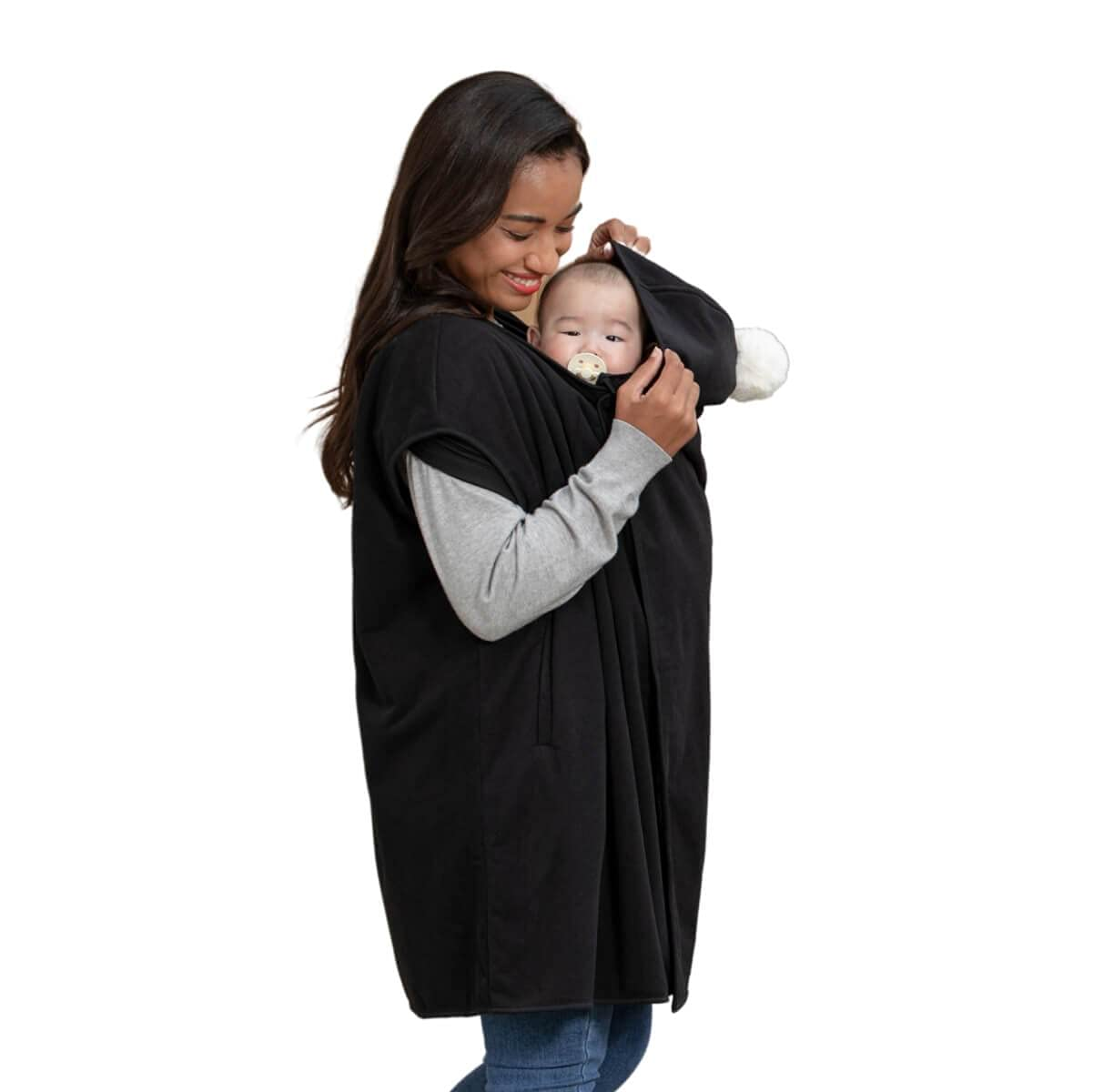 Konny Baby Carrier Winter Cover | Compatible with Any Baby Carrier and Stroller | Protect Baby from Cold Weather | Polar Fleece | Newborns, Infants to Toddlers (Black, Free)