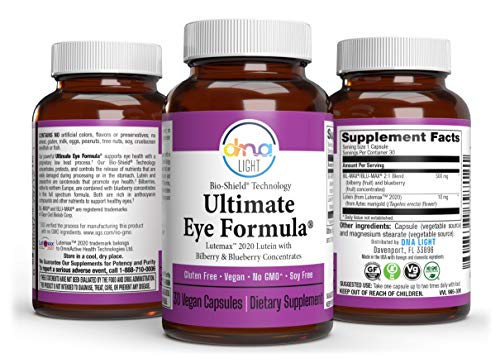 DNA Light Eye Vitamin Lutein and Zeaxanthin Supplement + Blueberry and Bilberry Extract - 30 Capsules - Macular Degeneration, Vision Health, Dry Eye Fatigue, Antioxidant - Vegan, Gluten Free, Non-GMO
