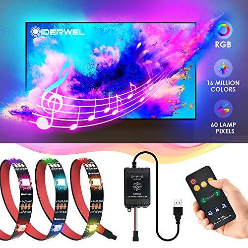 GIDERWEL DreamColor Musik RGB LED Streifen 2m mit LED Music Controller WS2812B Adressierbare TV Hintergrundbeleuchtung mit Fernbedienung 5V USB Powered für 40-60''HDTV zuanwenden,Spiele