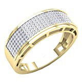 Dazzlingrock Collection 0.40 Carat (Ctw) 14K Round Diamond Men's Hip Hop Anniversary Wedding Band, Yellow Gold, Size 9