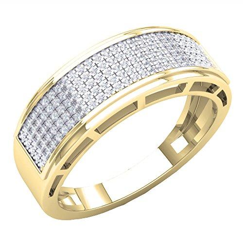 Dazzlingrock Collection 0.40 Carat (Ctw) 14K Round Diamond Men's Hip Hop Anniversary Wedding Band, Yellow Gold, Size 9