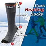 CAVEEN Beheizbare Socken für Damen und Herren, Beheizte Socken mit Akku Baumwolle Heizsocken Beidseitige Beheizung 3 Gänge Fußwärmer Erwärmbare Socken für Zuhause Outdoor Sports(L) - 4