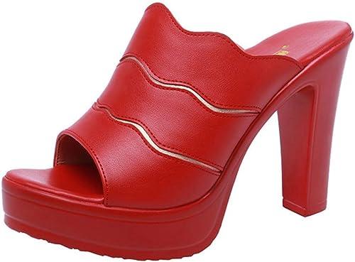 Frauenhauszapatos zapatos de mujer, Hauszapatos de tacón Alto, Boca de pez, Gruesa, con plataforma Impermeable, Fondo Grueso, Grande, tamaño, Arrastre de una Palabra,C,34