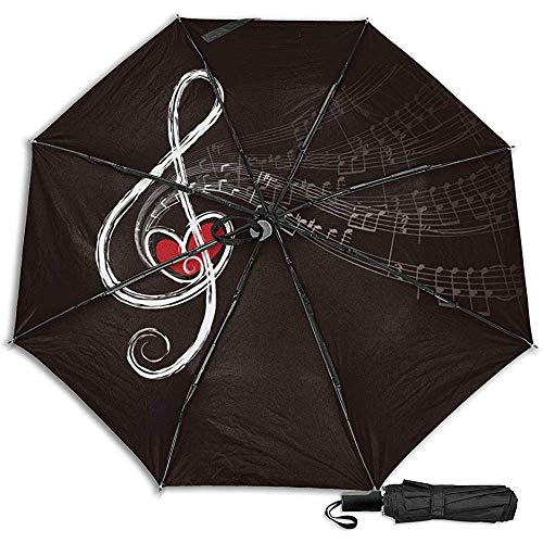 Música Nota Manual Paraguas Plegable Plegable de Viaje Compacto Protección UV Protección contra el Viento Fuerte