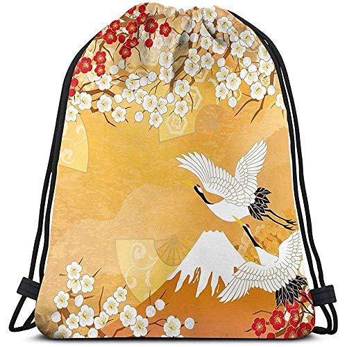 BOUIA Mooie Kimono Van Japan Schouder Trekkoord Tas Rugzak String Tassen School Rugzak Gym Sport Tas Lichtgewicht