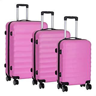 JB Luggage Trolley Travel Bags Set For Women, 3 Pieces - Pink