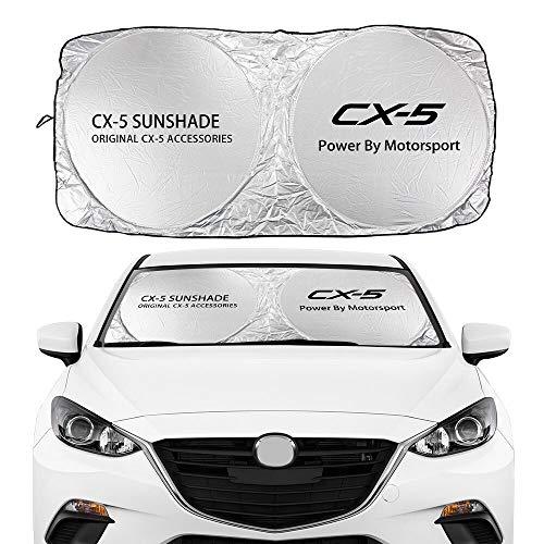 Coche Sun Shade Parasol Cubiertas de parabrisas de coches cubiertas de sombrilla con visión flodable Compatible con Mazda CX-3 CX-8 CX-9 CX-30 MX-5 DEMO CX-5 MS Premacy...