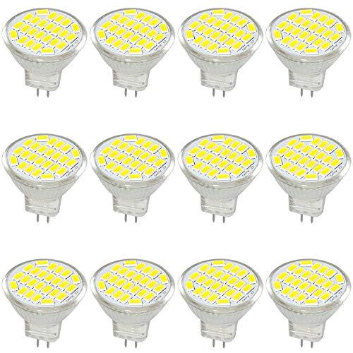 Jenyolon MR11 GU4 LED Lampen weiss 3W AC/DC 12V, 6000K, 400Lm, Ersatz für 30W Halogenlampen Glühlampen, klein MR11 LED Leuchtmittel Birne Spot Licht, 120°Abstrahlwinkel, 12er Pack