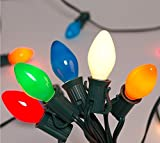 25Ft Outdoor String Lights, C7 Christmas Lights with 27 Multicolor Ceramic Bulbs(2 Spare), Outdoor Multicolor String Light for Holidays, Christmas, Prom, Party, Wedding, Green Wire